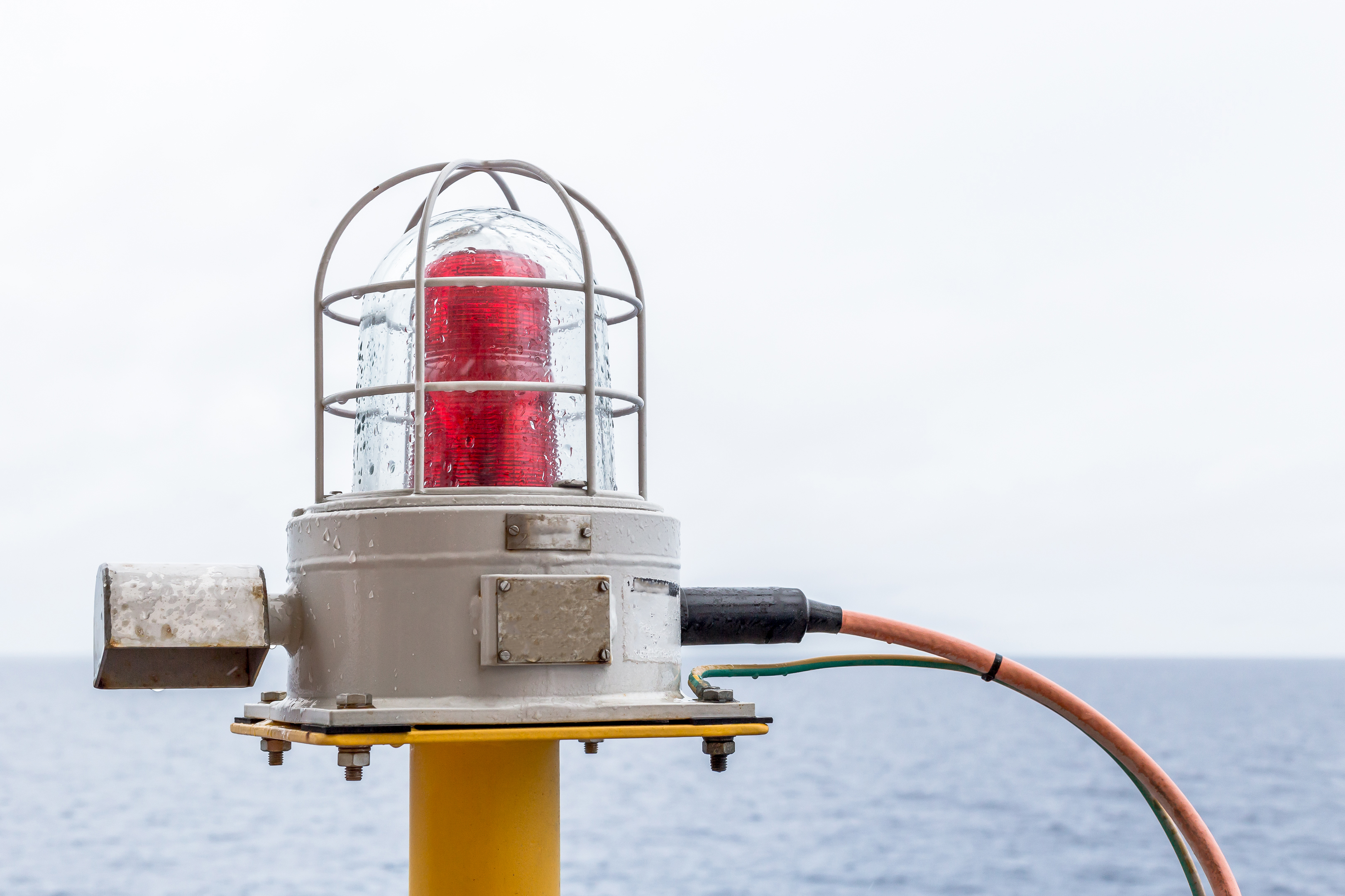 navigation lights bulbs on the oil & gas offshore wellhead platform.